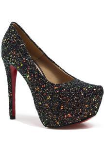 Scarpin Zariff Shoes Pump Glitter - Feminino-Preto