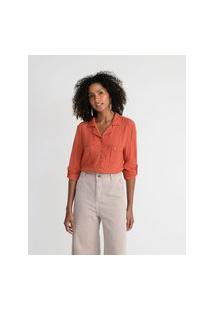 Camisa Manga Longa Em Viscose Com Bolsos Frontais E Botões Contrastantes | Marfinno | Marrom | G