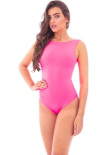 Body Moda Vicio Regata Com Decote Costas Rosa Neon
