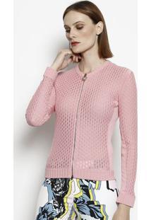 Jaqueta Em Tricô Com Seda - Rosa Claroversace
