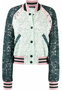 Dolce & Gabbana Jaqueta Bomber Com Renda Floral - Verde