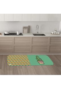 Tapete De Cozinha Mdecore Cactos Verde 40X120Cm