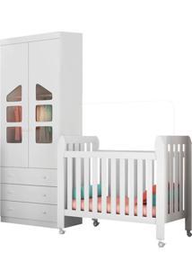 Quarto De Bebê Guarda Roupa 2 Portas Eloísa E Berço Lollipop Branco - Phoenix Baby - Tricae