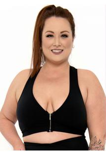 Top Supplex® Plus Size Com Zíper Preto