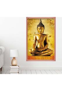 Quadro Love Decor Com Moldura Golden Buddha Rose Metalizado Grande