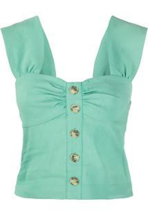 Pinko Camisola Cropped Com Botões - Verde