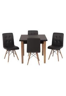 Conjunto Mesa De Jantar Luiza 80Cm Preta Com 4 Cadeiras Gomos - Preto