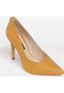 Scarpin Em Couro Com Tag & Recortes - Amarelo Escurojorge Bischoff
