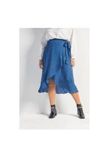 Saia Midi Animal Print Em Crepe Com Babado E Amarração Curve E Plus Size Azul