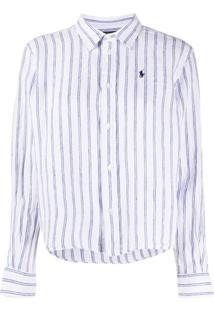Polo Ralph Lauren Camisa Cropped Com Estampa De Listras - Branco