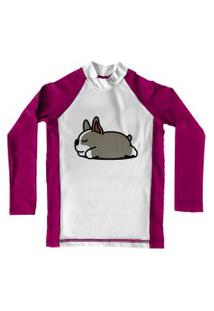 Camiseta De Lycra Comfy Sleep Dog Rosa