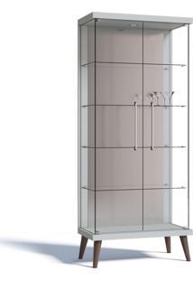 Cristaleira Imcal Tifanny 02 Portas De Vidro Branco Acetinado