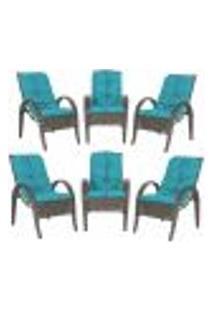 Cadeiras 6Un P/ Jardim Lazer Edicula Varanda Descanso Fibra E Tramas Napoli Plus Pedra Ferro A20