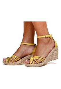 Sandália Anabela Plataforma Sb Shoes Ref.1275 Amarelo Lima