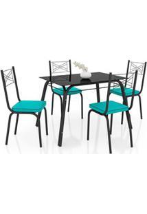 Jogo De Mesa Lótus Tampo De Vidro E 4 Cadeiras 119 Preto/Azul Turquesa