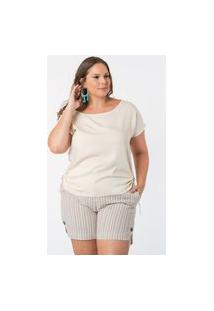 Blusa Almaria Plus Size Munny Amarração Lateral Off-White