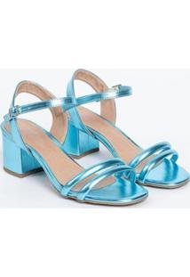 Sandália Salto Baixo Metalizada Macia Fivela Casual Conforto Not-Me Feminina - Feminino-Azul