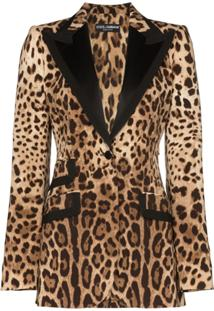Dolce & Gabbana Leopard Print Tailored Blazer - Marrom