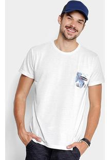 Camiseta Foxton Bolso Print Tropical Masculina - Masculino-Branco