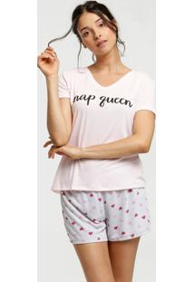 Pijama Feminino Estampa Corações Manga Curta Marisa