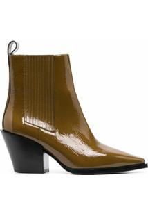 Aeyde Kate Patent Ankle Boots - Verde