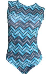 Maio Garota De Luxo Beachwear Com Tradicional Azul Geometricos
