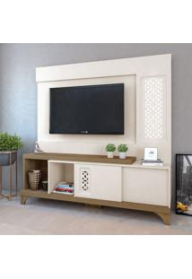 Estante Para Home Theater E Tv Até 55 Polegadas Summer Off White E Pinho