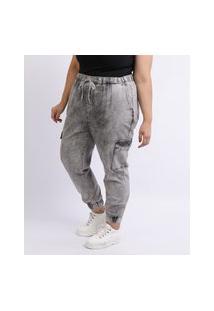 Calça Jeans Feminina Mindset Plus Size Jogger Marmorizada Cintura Alta Com Bolsos Preta