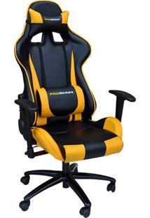 Cadeira Gamer Giratória Reclinável Com Regulagem De Altura Ergonômica Pro-V Sport Pu Preto/Amarelo - Gran Belo