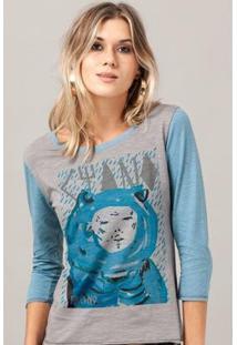 Camiseta Manga Longa Feminina Fresno Capa Ciano - Feminino-Cinza