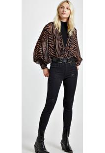 Calca Jeans Basic Skinny Midi Black Com Foil Jeans