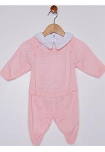 Enxoval Tricot Infantil Para Bebê Menina - Rosa