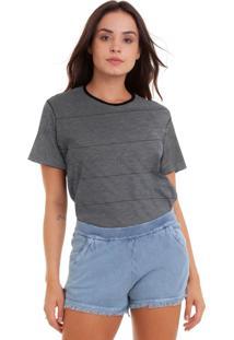 Camiseta Feminina Botonê Listrado Linha