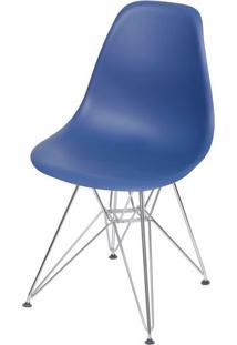 Cadeira Eames Polipropileno Azul Marinho Base Cromada - 49314 - Sun House
