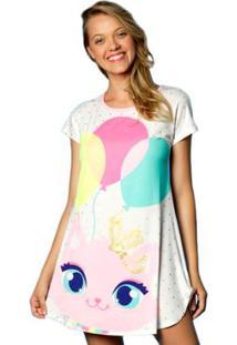 Camisola Manga Curta Visco Gatinha Puket - Feminino-Branco