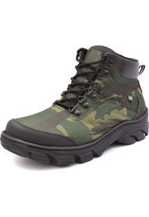 Bota Calcifran Coturno Camuflada Militar Verde