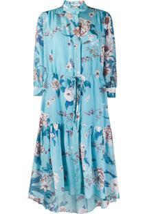 Dvf Diane Von Furstenberg Vestido Com Estampa Floral - Azul