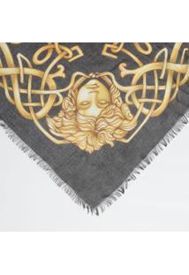 Lenço Arabescos Com Seda - Preto & Amarelo - 126X108Versace
