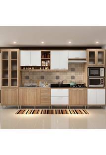 Cozinha Compacta Sem Tampo 8 Peças 5806-S4 - Sicília - Multimóveis - Argila Acetinado / Branco Acetinado