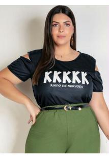 Blusa Preta Com Ombros Vazados Plus Size