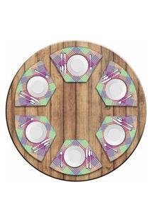 Jogo Americano Love Decor Para Mesa Redonda Wevans Colorfull Geométric Kit Com 6 Pçs