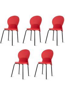 Kit 5 Cadeiras Luna Assento Vermelho Base Preta - 57708 - Sun House