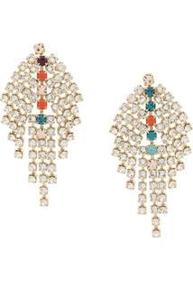 Isabel Marant Crystal Embellished Drop Earrings - Branco