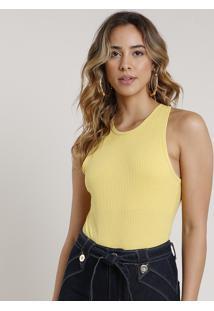 Body Feminino Básico Canelado Decote Nadador Amarelo