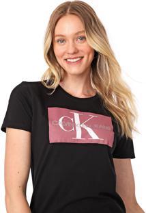 Blusa Calvin Klein Jeans Lettering Preta - Kanui