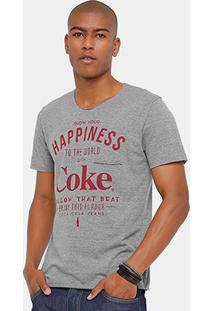 Camiseta Coca Cola Corte Fio Bolso Happiness Masculina - Masculino