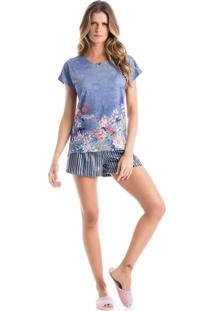 Pijama Amanda Curto Azul/P