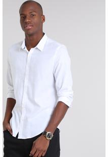 Camisa Masculina Slim Botonê Manga Longa Off White