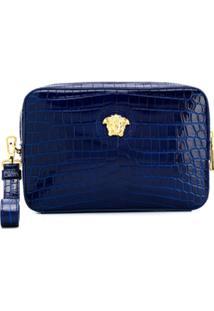 Versace Clutch Com Efeito Pele De Crocodilo - Azul