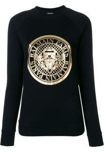 Balmain Blusa De Moletom Com Logo - Preto